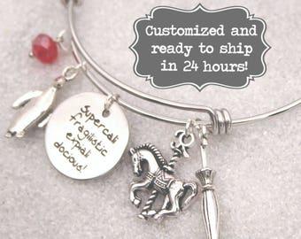 Mary Poppins Engraved - Supercalifragilisticexpialidocious Bracelet DISNEY Inspired Bracelet, Custom Name Charm Bracelet, Adjustable Bangle
