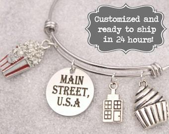 Main Street USA - DISNEY Inspired, Walt Disney World Disneyland, Bakery, Popcorn Custom Name Charm Bracelet, Adjustable Bangle, Personalized