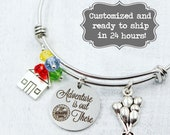 Up Adventure is out There - Custom Bangle Bracelet - Balloons Bead Charm Bracelet, Wilderness Explorers, Grape Soda Up Charm,