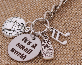 It's A Small World DISNEY Inspired, Key Chain, Key Fob Walt Disney World Disneyland, Fantasyland Custom Name Charm Keychain
