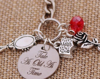 Beauty and the Beast Belle-Inspired Accessories Keychain Tale as Old as Time