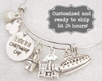 Castaway Cay - I'd Rather Be On Castaway Cay DISNEY Inspired, Disney Cruise, Fish Extender Custom Name Charm Bracelet, Adjustable Bangle