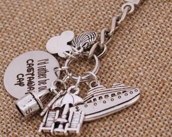 I'd Rather Be On Castaway Cay DISNEY Inspired, Disney Cruise, Fish Extender Custom Name Charm Custom Name Charm Keychain