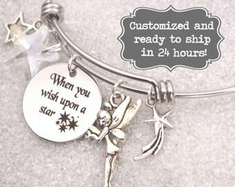 Tinkerbell - When You Wish Upon A Star Bracelet DISNEY Inspired, Tinkerbell, Star Bracelet, Custom Name Charm Bracelet, Disney Present Gift