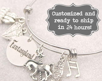 Fantasyland - Engraved DISNEY Inspired, Walt Disney World Disneyland, Mine, Castle, Carousel Custom Name Charm Bracelet, Adjustable Bangle