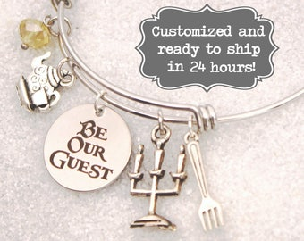 56f63a3b5 Be Our Guest Engraved - Bracelet Beauty and The Beast DISNEY Inspired  Bracelet, Custom Name Charm Bracelet, Lumiere, Stocking Stuffer Gift