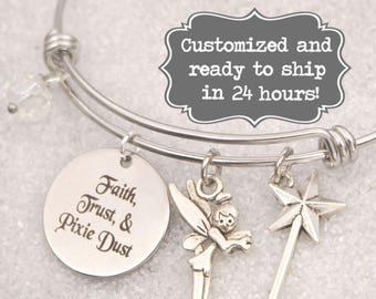 8874e4a8e Tinkerbell Engraved - Faith, Trust, and Pixie Dust Bracelet DISNEY Inspired,  Star Bracelet, Custom Name Charm Bracelet, Adjustable Bangle