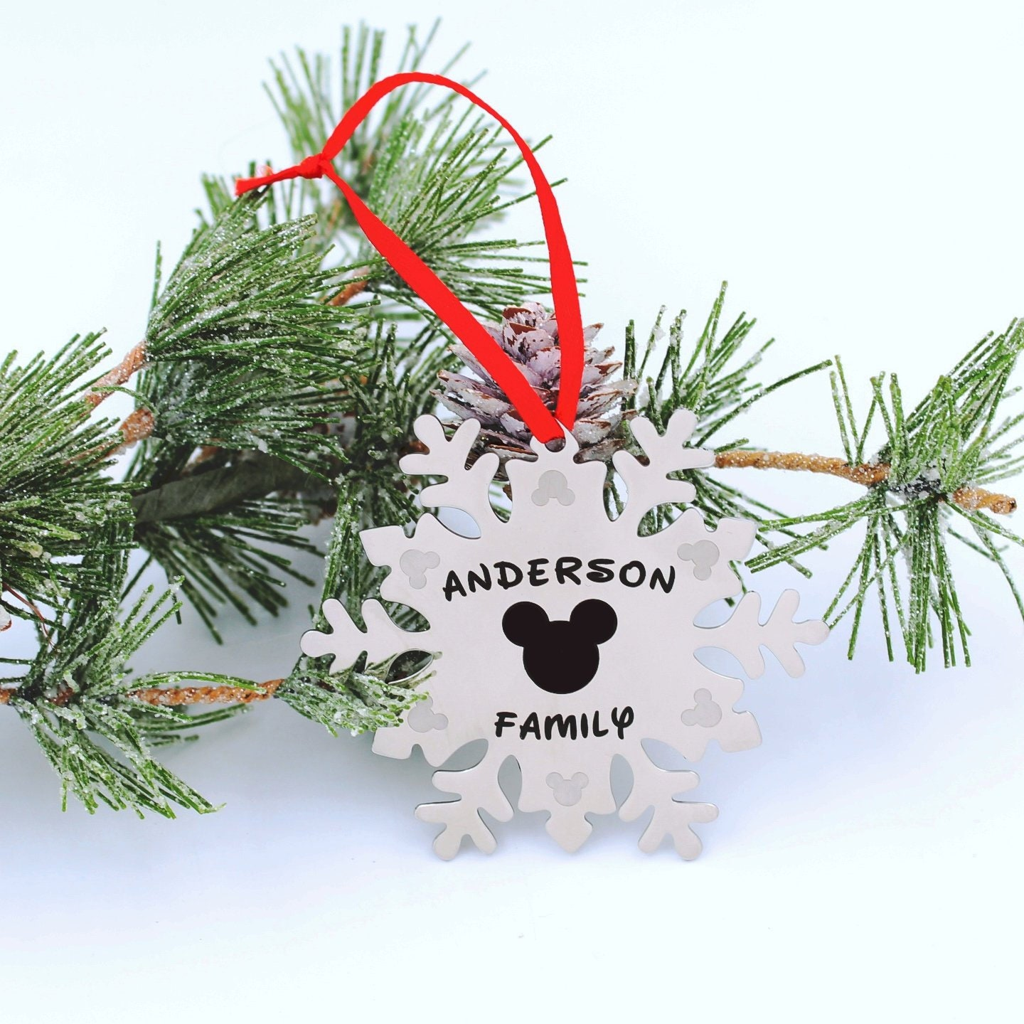 Personalised Name Minnie Mouse inspired charm Handmade Christmas Tree Decoration
