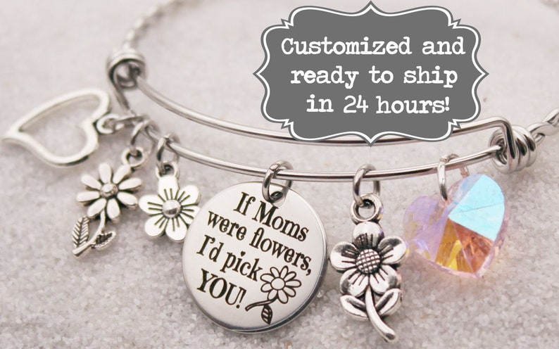 2a340221e4b94 If Moms were flowers, I'd pick you Bangle Charm Bracelet, Custom Name Charm  Bracelet, Bangle, Laser Engraved, Mother's Day Gift, Mama gift
