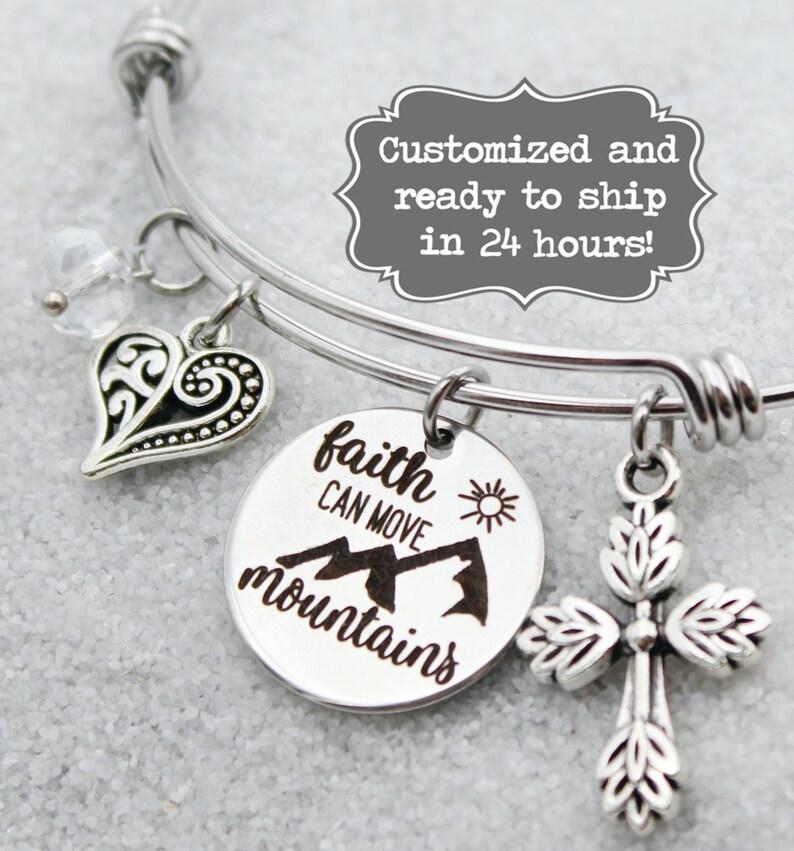a271e88afa647 Faith Can Move Mountains - Matthew 17:20 Bangle Charm Bracelet, Custom Name  Charm Bracelet, Laser Engraved, Religious Gift, Cross bangle