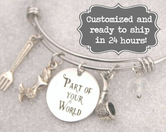 Little Mermaid Engraved - Part of Your World Bracelet DISNEY Inspired, Ariel,Dinglehopper, Custom Name Charm Bracelet, Adjustable Bangle