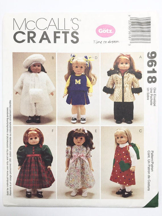 McCall\'s Crafts 9618 Gotz 18 Doll Clothes Sewing | Etsy