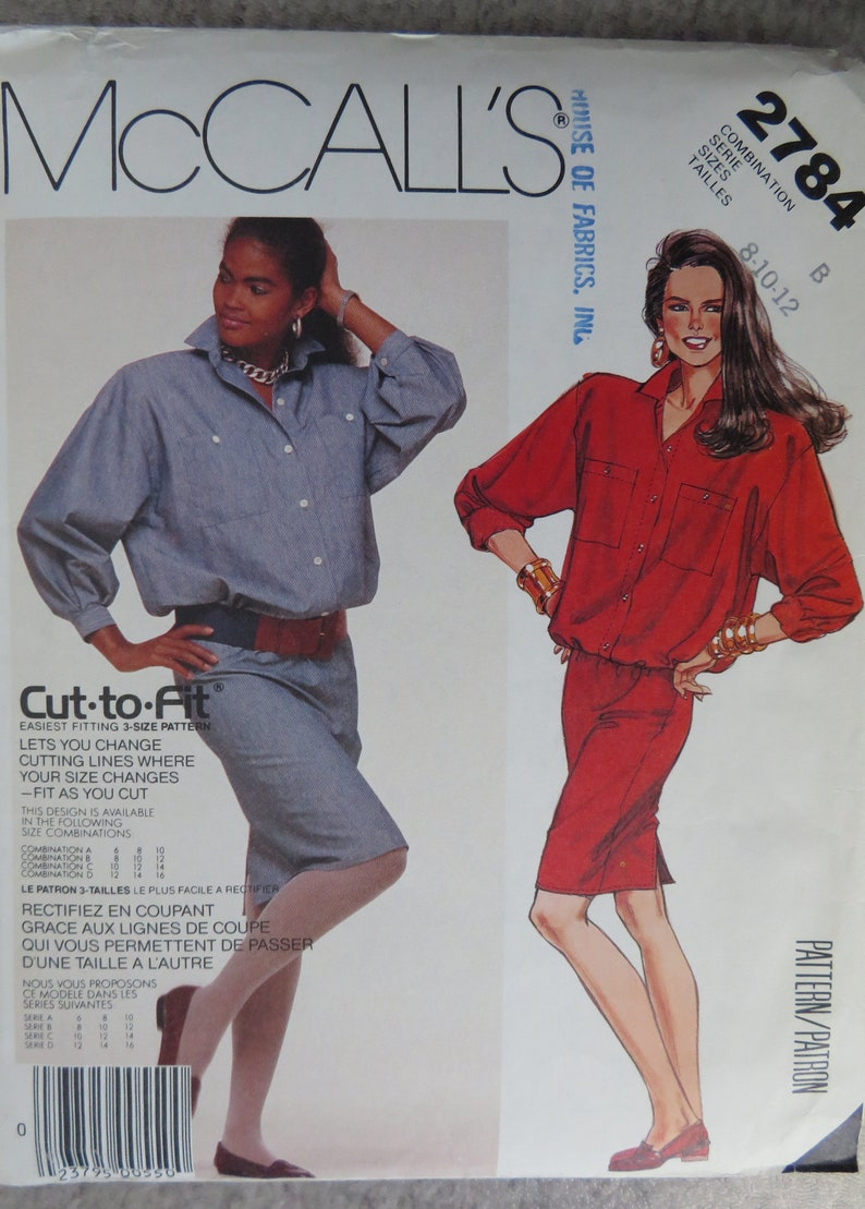 b5e674ea71 Vintage 1986 Sewing Pattern McCalls 2784 misses pullover