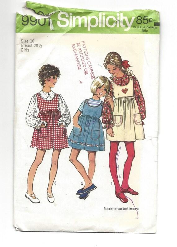 Patrón de la vendimia 1972 simplicidad 9901 chicas años 70 | Etsy