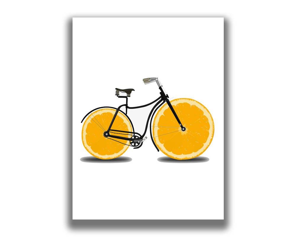 Bicycle Gifts Bicycle Art Bicycle Wall Art Lemon Print | Etsy