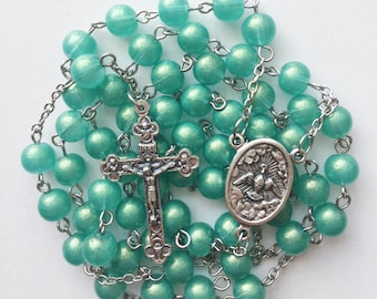Green Rosary with Case
