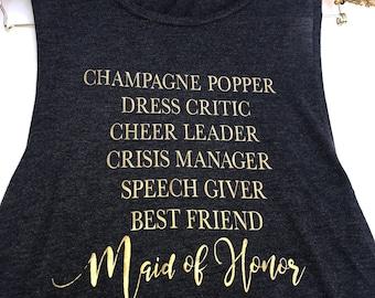 Maid of Honor Proposal, Bridesmaid Gift, Bridesmaid Proposal, Bridesmaid Shirts, Bridesmaid, Maid of Honor Gift, Maid of Honor, Tank Top