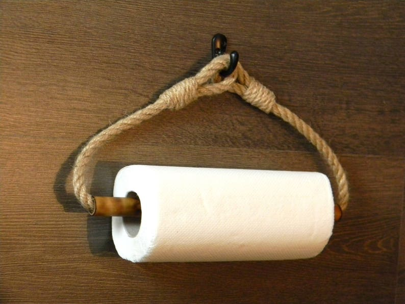 Papier Handtuchhalter Bambus Rolle Halter Jute Seil