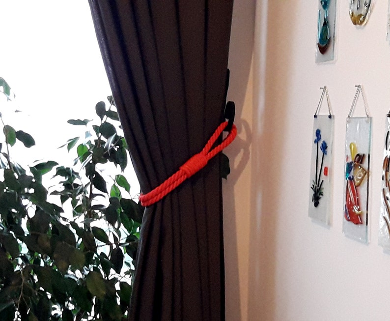 Red Curtain Tie Back ..Holdback Curtain Tie..Nautical Decor..Synthetic Rope Tie backs..