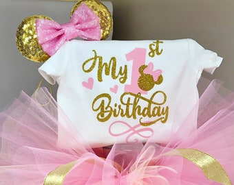 793383abc Pink and Gold minnie mouse birthday outfit, Minnie Mouse my 1st birthday  outfit, 1st birthday girl outfit, fancy script font