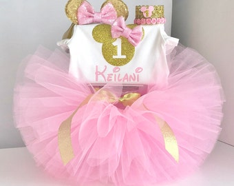 9d239eae84463 Minnie Mouse birthday outfit,Minnie Mouse 1st birthday outfit,Pink and gold Minnie  Mouse Outfit,minnie mouse first birthday outfit,tutu set