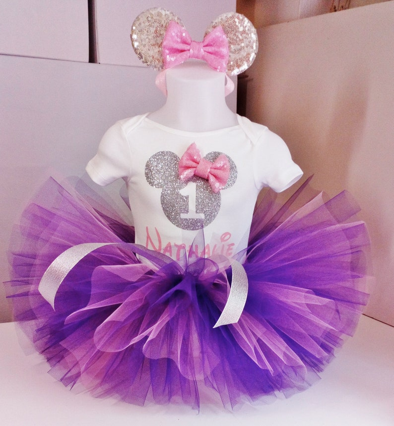 94e467d19d3 Purple and Silver Minnie Mouse Birthday Outfit,First Birthday Minnie  Mouse,Minnie Mouse tutu set,minnie mouse 1st birthday outfit