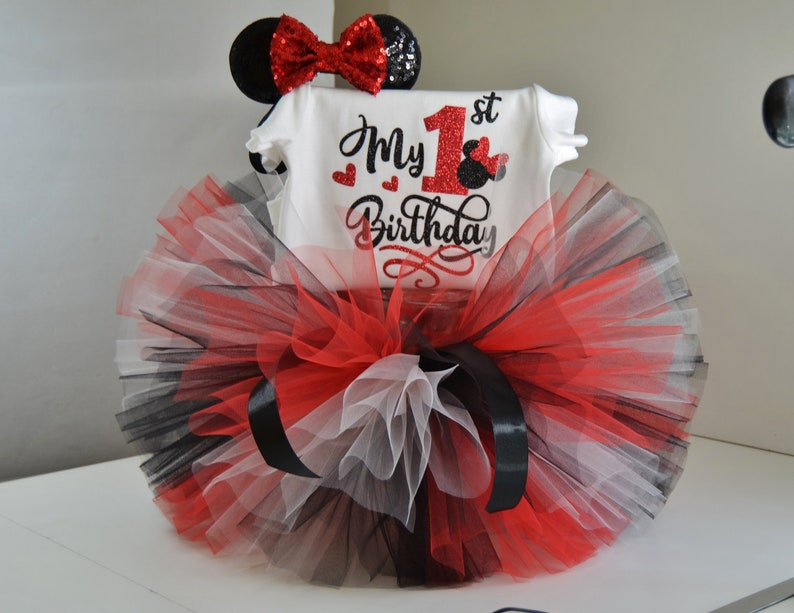 Minnie Mouse Birthday Outfit,Red /& Blac Minnie Mouse Outfit Minnie Mouse tutu set,minnie mouse 1st birthday outfit,cake smash outfit