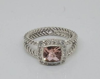 ca9dfde45 David Yurman 7x7mm Albion ring with diamonds and Morganite. Size 7