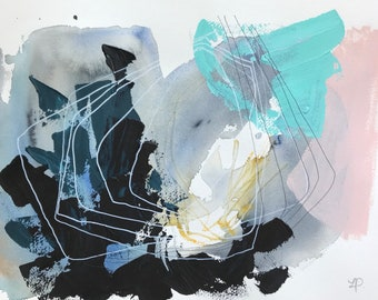 """Poster / illustration original abstract painting - watercolor, acrylic and ink on paper 12 """"x 16"""""""