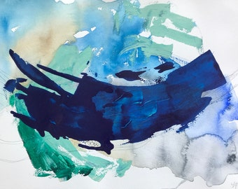 """Wave poster original abstract painting - watercolor and acrylic on paper 12 """"x 16"""""""