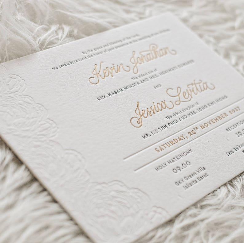 Letterpress Wedding Invitation Sample Calligraphy Black Etsy