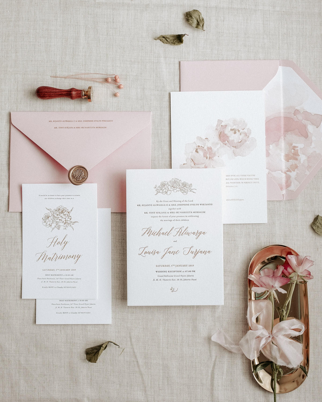 Letterpress Wedding Invitation Gold Foil Pink Letterpress Pink Ribbon Flower Wax Seal Holy Matrimony Card