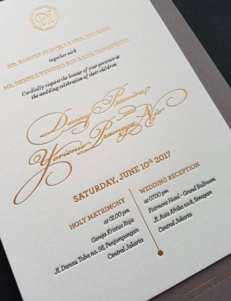 Letterpress Wedding Invitation Sample Calligraphy Gold Etsy