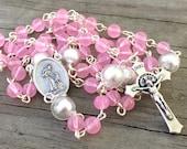 Rose Pink & Pearl glass b...
