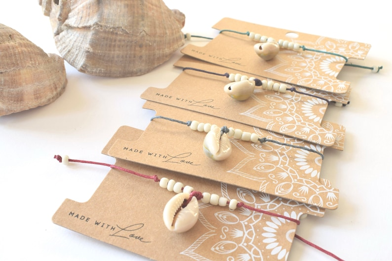 wax cord slide knot ibiza style kauri shell boho Shell anklet bohemian anklet gift for her