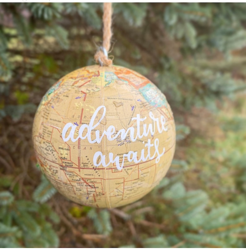 Adventure Awaits Ornament World Map Globe Ornaments Natural