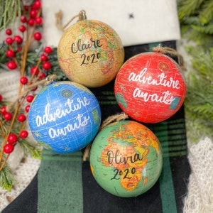 custom wedding date honeymoon gift CUSTOM hand lettered Globe Ornament custom 2021 grad personalized teacher appreciation