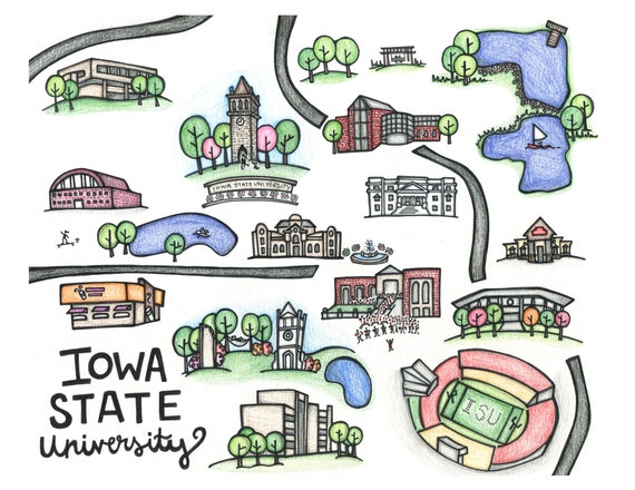 Print - Hand-illustrated map of Iowa State University on city of iowa campus map, lake delhi ia map, isu campus map, north carolina a&t campus map, ia state amtrak map, iowa university map, iowa state map, gardner webb campus map,