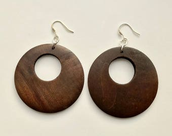 Wood Hoop Dangle Earrings, Hoop Earrings, Sterling Silver, Minimalist Earrings