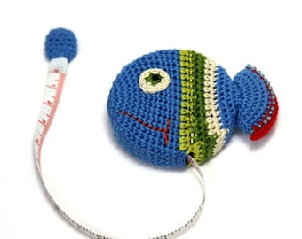 Cute Blue Fish Crochet Retractable Tape Measure, Unique Gift, Cute Animal