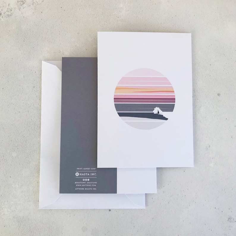 Gifts for Surfers Gift Card Greeting Cards Pack of 6 Scottish Landscape Surf Art