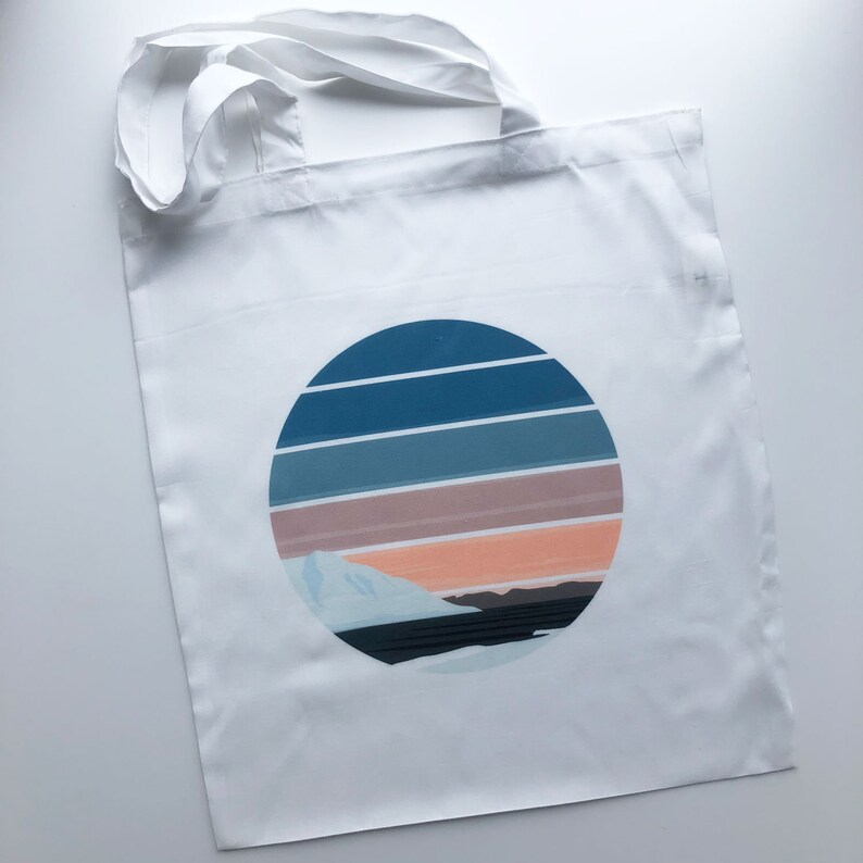 Wave Winter/'s Promise Tote Bag  Ocean Surfboard Surf Sea Recycled Surfer Reusable Shopping Bag Sunset Surf Art Landscape