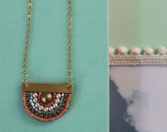 Sunny Pendant: A Modern Bead Embroidery Pendant (in Classic Coral