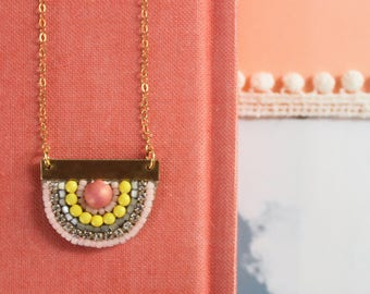 Sunny Pendant: A Modern Bead Embroidery Pendant (in Pink Lemonade)