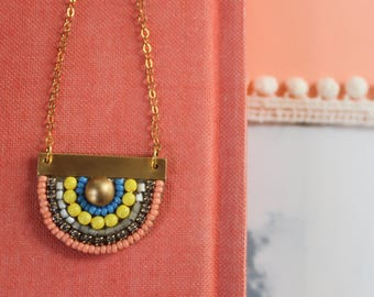 Sunny Pendant: A Modern Bead Embroidery Pendant (in Unpredictable Multi)