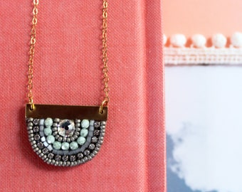 Sunny Pendant: A Modern Bead Embroidery Pendant (in Cool Grey)