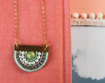 Sunny Pendant: A Modern Bead Embroidery Pendant (in Mint Julep)
