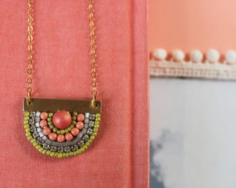 Sunny Pendant: A Modern Bead Embroidery Pendant (in Free Spirit)