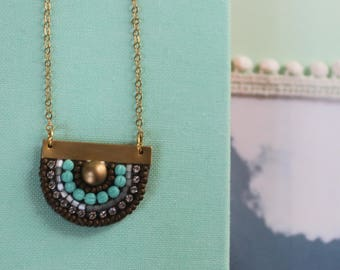 Sunny Pendant: A Modern Bead Embroidery Pendant (in Cabin Blue)