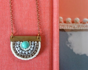 Sunny Pendant: A Modern Bead Embroidery Pendant (in Glacier Blue)